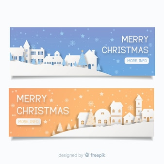 Creative christmas town banners in paper style