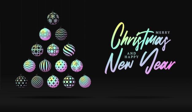 크리스마스와 새해 축하를 위해 검은 배경에 반짝이는 홀로그램 그라데이션 볼로 만든 창의적인 크리스마스 트리. 크리스마스 벡터 일러스트 레이 션 배너