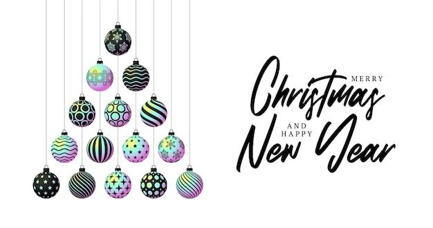 크리스마스와 새해 축하를 위해 흰색 배경에 반짝이는 홀로그램 그라데이션 공으로 만든 창의적인 크리스마스 트리. 크리스마스 벡터 일러스트 레이 션 배너