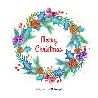수채화 스타일의 창조적 인 크리스마스 화환 배경