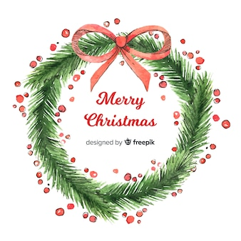Creative christmas wreath background in watercolor style