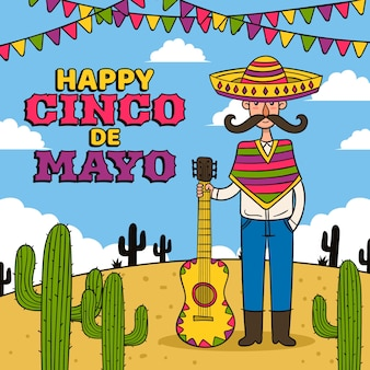 Creative cinco de mayo hand drawn