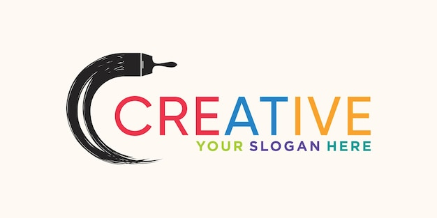 Creative circle brush stroke logo design with unique modern concept premium vector