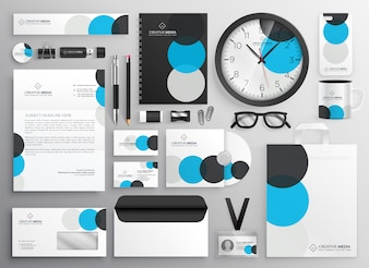 Creative circle stationery set for business branding