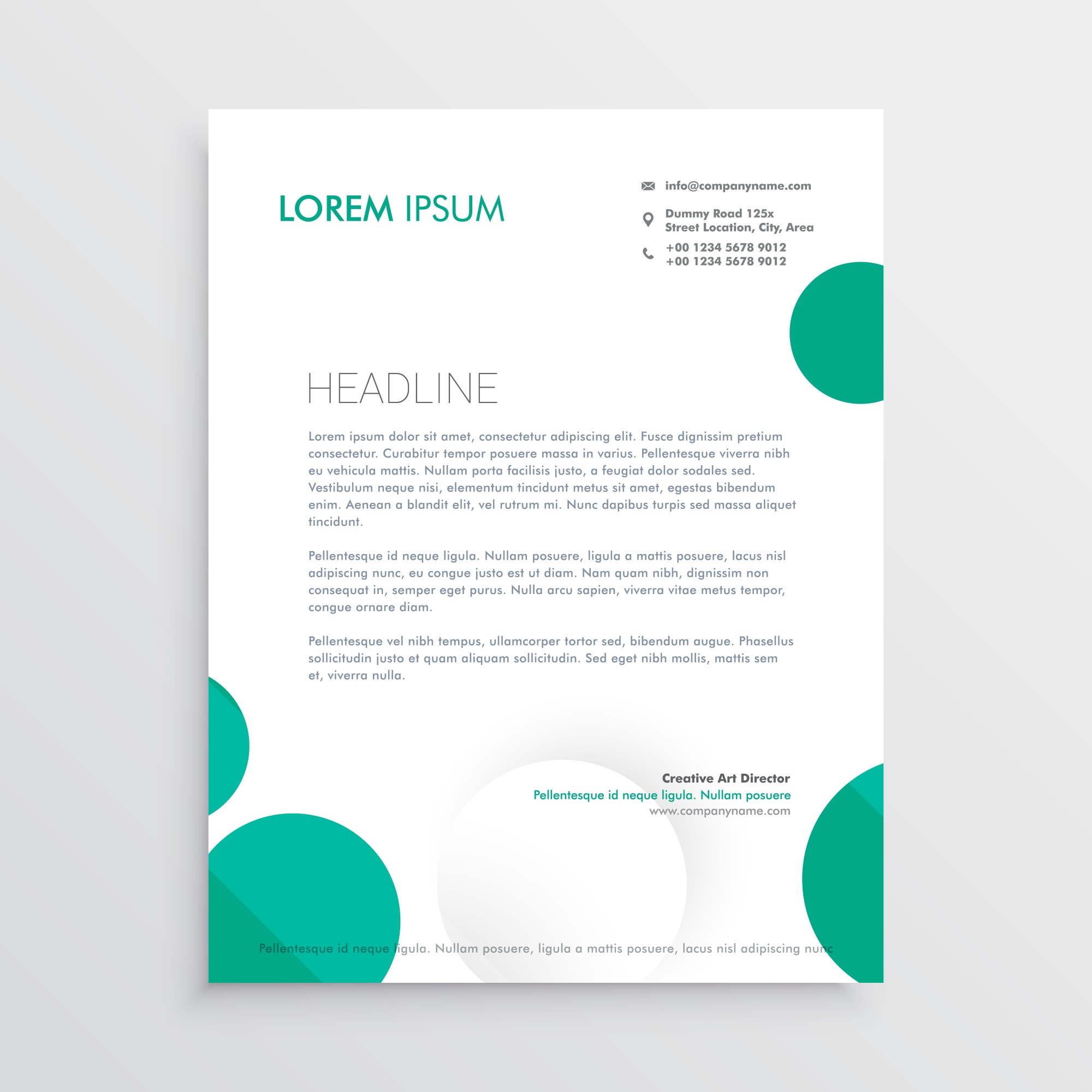 Creative circles letterhead design template vector