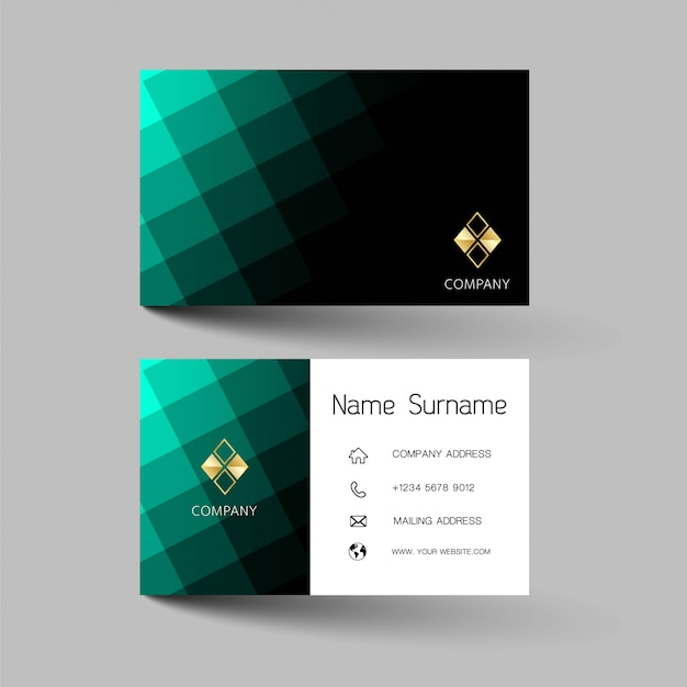 Creative and clean business card design. green and black color.