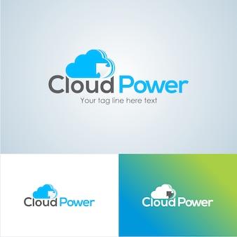 Шаблон дизайна логотипа creative cloud power