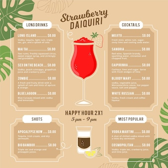 Creative cocktail menu with illustrations