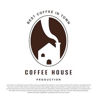 クリエイティブなコーヒーハウスのロゴデザインコーヒー豆と家のブランドとビジネスに最適なロゴ
