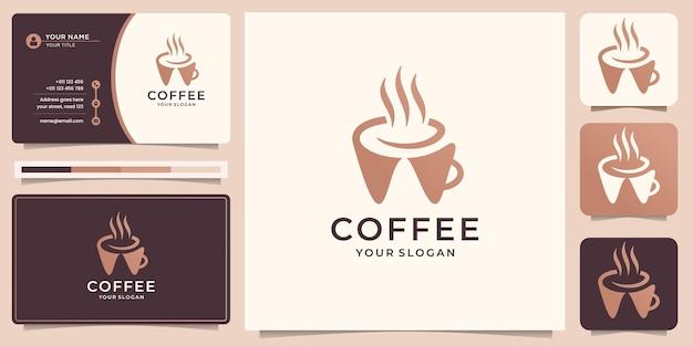 명함 서식 파일이 있는 크리에이 티브 커피 로고 디자인.