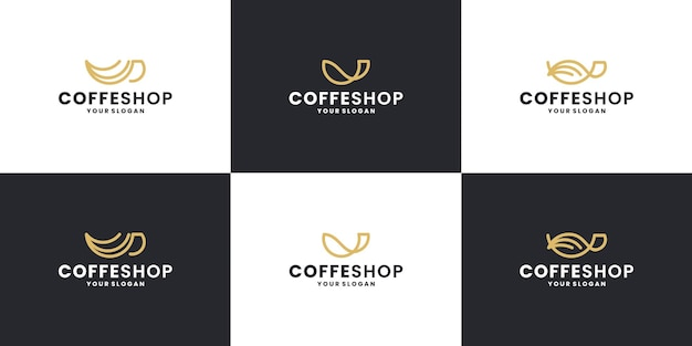 Creative coffee shop with creative coffee cup logo design collections