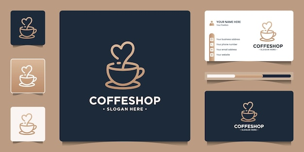 창의적인 컵과 라인 아트 스타일의 사랑이 있는 창의적인 커피숍