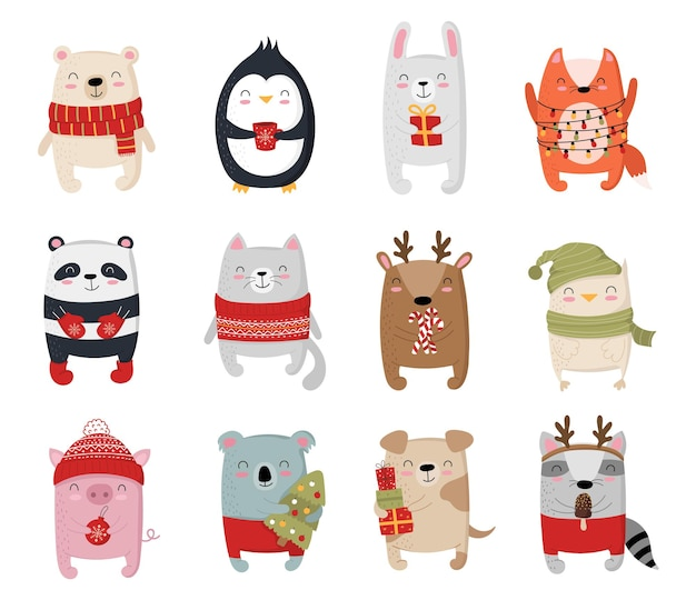Creative collection of cute animals for new year vector cartoon doodle isolated illustration