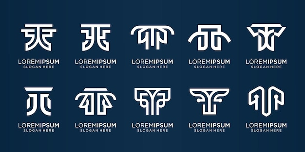 Креативная коллекция начальных значков шаблона логотипа t для бизнеса или вдохновения компании элегантный фирменный стиль premium векторы