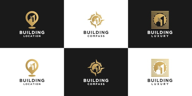 건물 로고, 위치 건물 및 나침반 건물의 창의적인 컬렉션