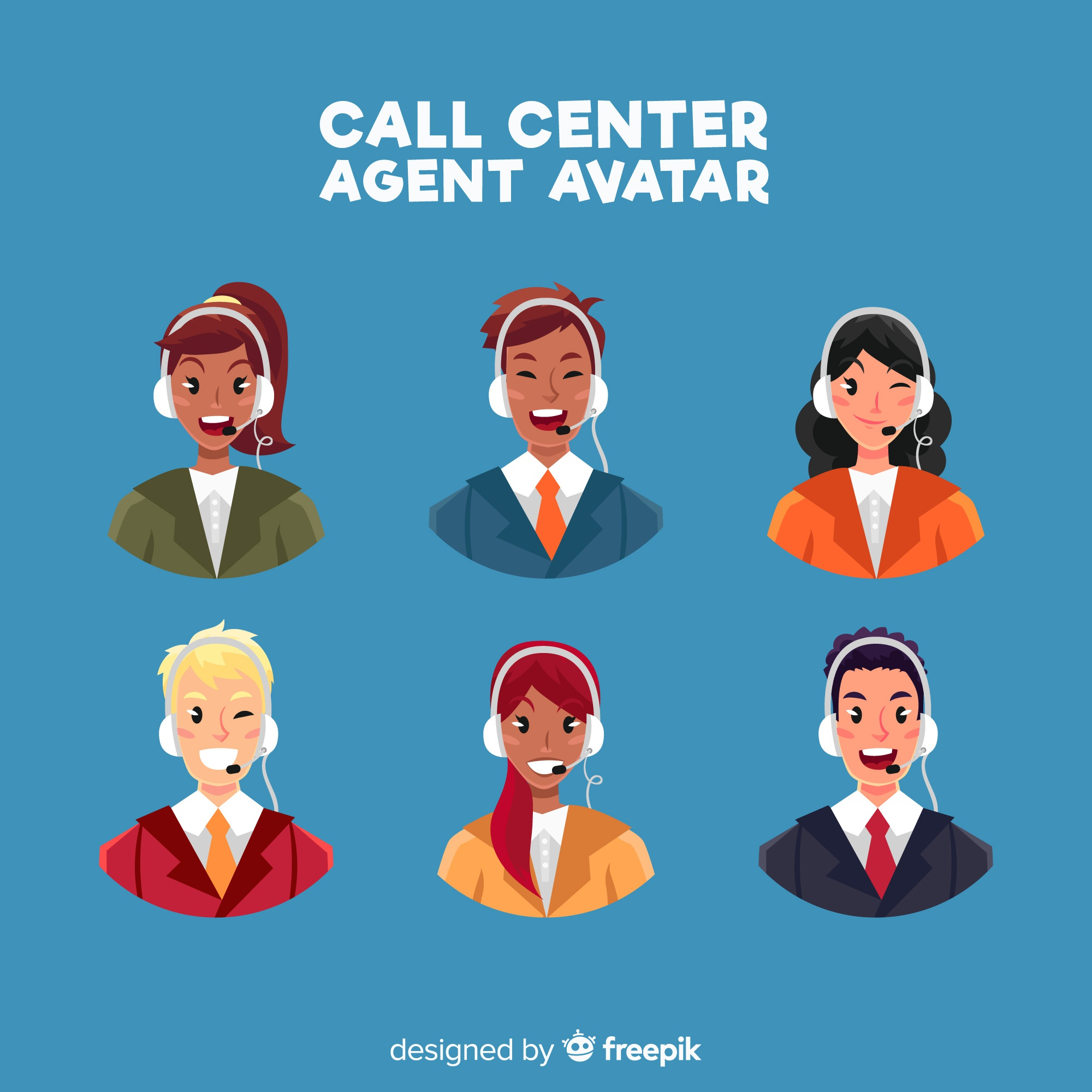 Creative collection of call center avatars