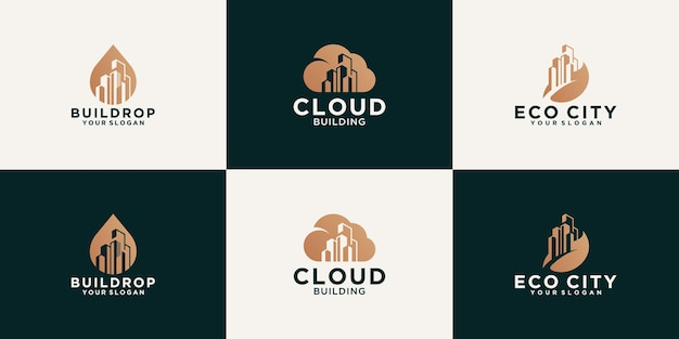 Креативная коллекция логотипов городских зданий