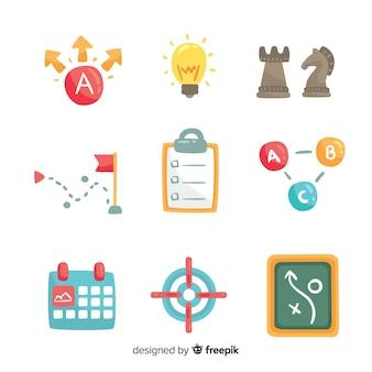Raccolta creativa di elementi di pianificazione