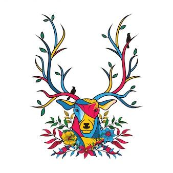 花の要素を持つ鹿の頭の創造的な色のイラスト