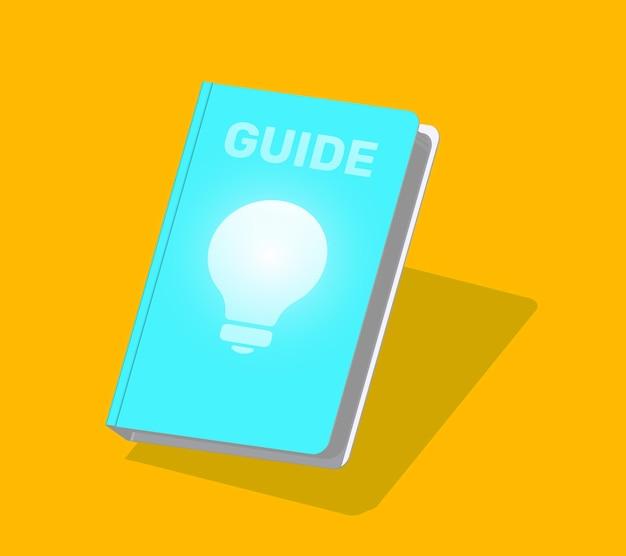 表紙に影と電球が付いた等尺性の青い本の創造的なカラーイラスト
