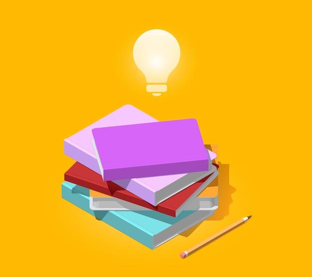 鉛筆と電球で本の等尺性の山の創造的なカラーイラスト