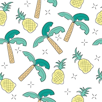 Creative colorful art drawing seamless endless repeating pattern texture with tropical elements