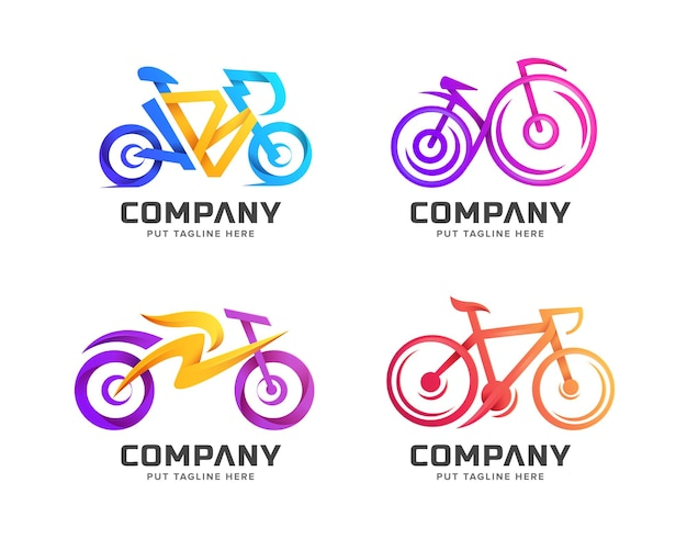 Creative colorful bicycle logo template for business