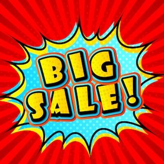 Creative colorful big sale in pop-art style. comic book