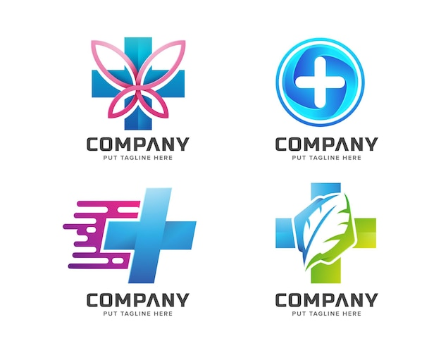 Creative colorful bundle medical hospital logo template for company