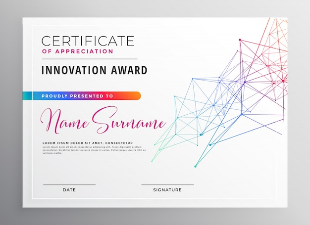 Creative colorful certificate template design