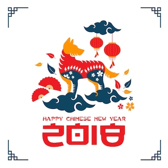 Creative colorful chinese new year 2018 dog year banner and card illustration