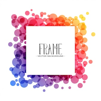 Creative colorful circles frame background