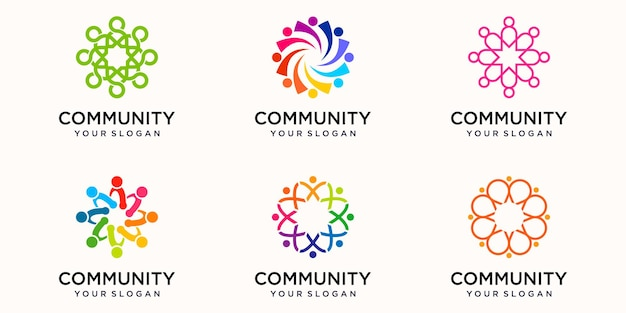 Creative colorful community icon logo design template. team of four people together icon isolated.