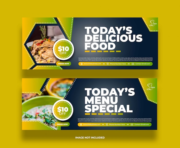 Creative colorful concept food yummy restaurant social media banner post
