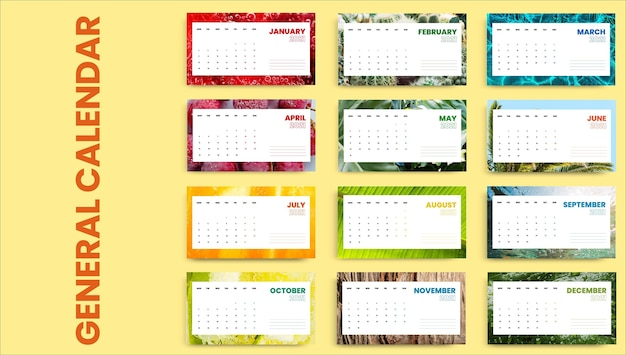 クリエイティブでカラフルな涼しい夏のカレンダー