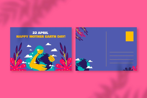 Creative colorful day environment postcard