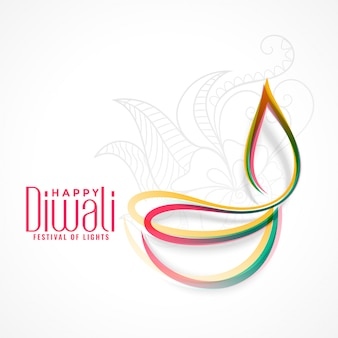 Creative colorful diya lamp for diwali festival