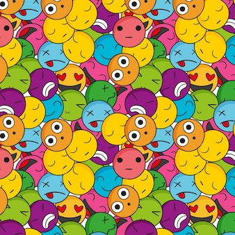 Creative colorful emoticons pattern