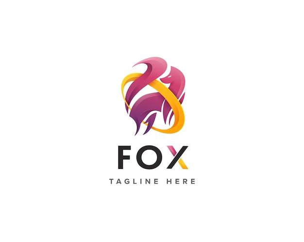 創造的なカラフルなキツネの野生のロゴのテンプレート
