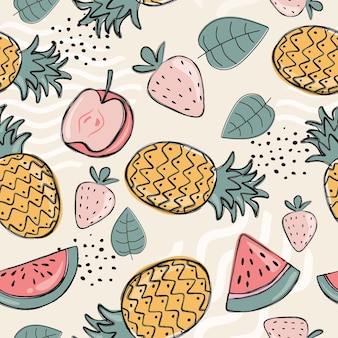 Creative colorful fruity pattern background.