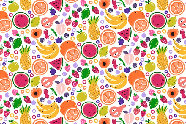 Creative colorful fruity pattern background