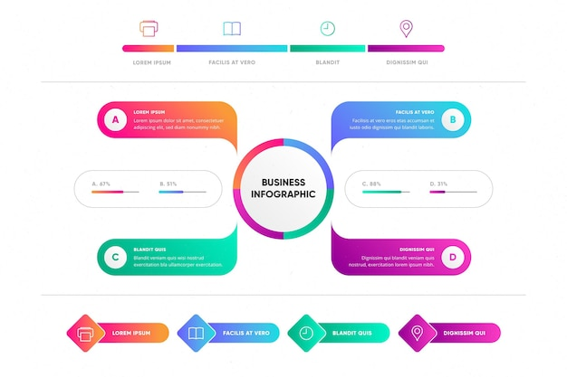 Creative colorful gradient business infographic