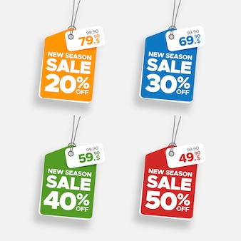 Creative colorful hanging sale banner and price tag set