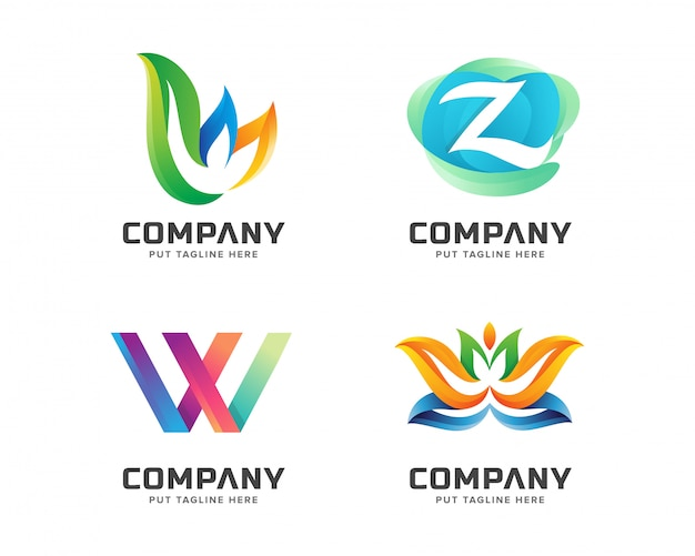 Creative colorful initial logo set