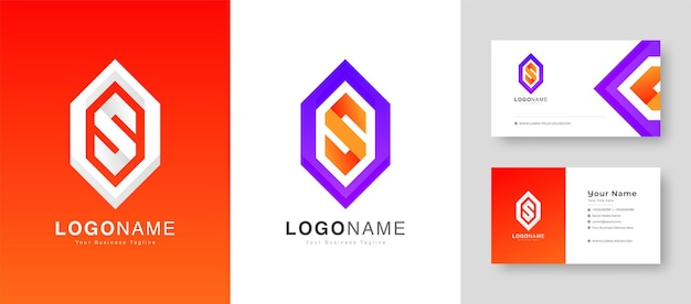 Creative colorful initial s or o letter  logo with premium business card design