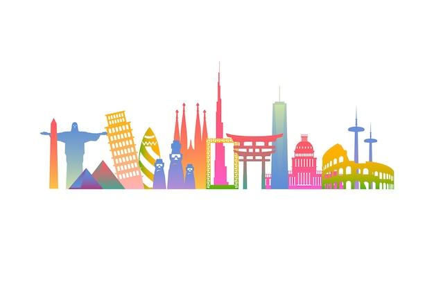 Creative colorful landmarks skyline