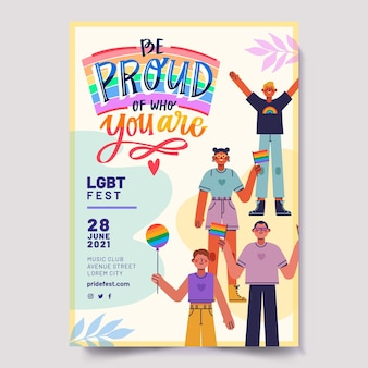 Creative colorful lgbt event love flyer template