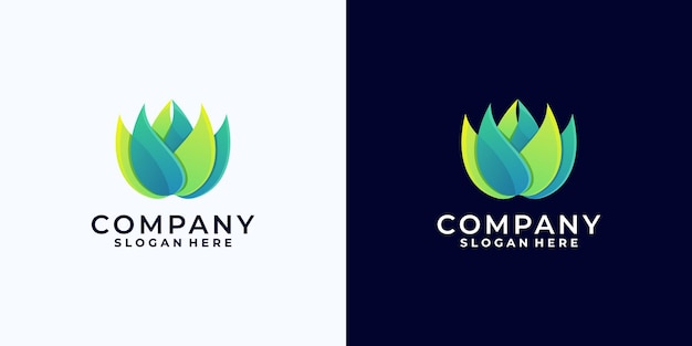Креативный красочный логотип лотоса, градиентный логотип