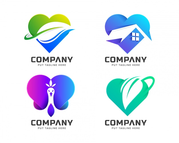 Creative colorful love logo collection