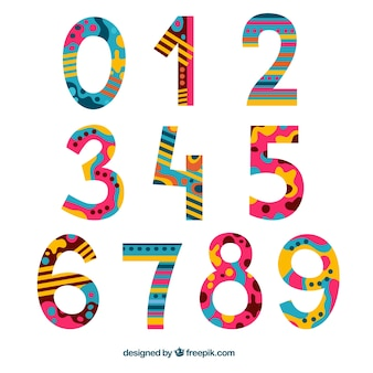 Creative colorful number collection